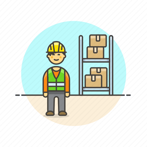 delivery, logistic, man, package, rack, storage, warehouse, worker icon