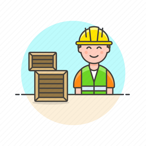 delivery, logistic, man, package, storage, warehouse, worker icon