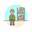 cargo, delivery, logistic, man, package, storage, warehouse, worker icon
