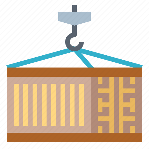 container, crane, delivery, shipping icon