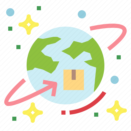communications, delivery, earth, shipping icon
