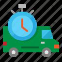 delivery, fast, stopwatch, transport, van