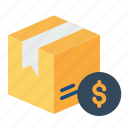 box, cash, delivery, dollar, package, parcel, search icon