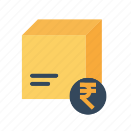 box, cod, delivery, package, parcel, rupee, search icon