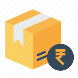 box, cash, delivery, logistic, parcel, rupee, search icon