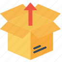 box, delivery, export, open, parcel, shipping, unpack icon