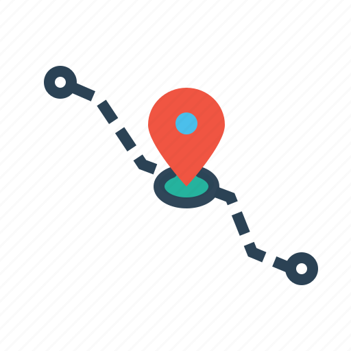 current, delivery, detaination, location, navigation, pin, source icon