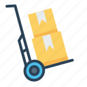 boxes, delivery, handtruck, luggage, parcel, shipping, transport icon