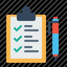 checklist, clipboard, delivery, identify, pen, sign, tick icon