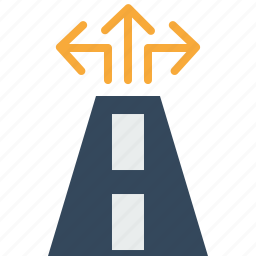 arrow, destination, guide, map, navigation, road, sign icon