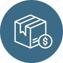 box, cash, delivery, dollar, logistic, package, parcel