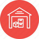 boxes, godown, luggage, parcel, storage, storehouse, warehouse icon