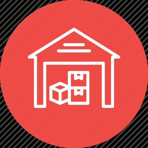 boxes, godown, luggage, parcel, storage, storehouse, warehouse icon