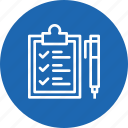 checklist, clipboard, identify, logistic, pen, sign, tick icon