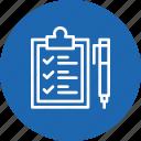 checklist, clipboard, identify, logistic, pen, sign, tick