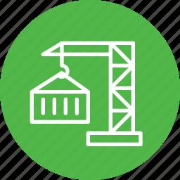 container, crain, export, lift, logistic, parcel, transport icon