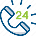 24 hour service, call service, customer care, customer relation, customer service icon icon