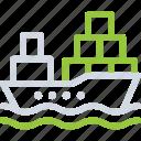 boat, cargo ship, container, logistics icon icon