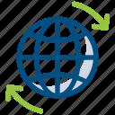arrow, arrows, global, globe tour, world globe, world tour icon icon