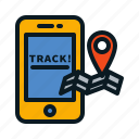app, delivery, logistic, map, tracking icon