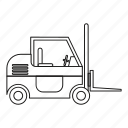 equipment, forklift, industry, line, machine, outline, vehicle icon
