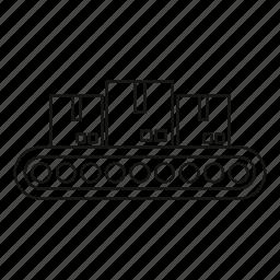 belt, conveyor, industrial, line, load, metal, outline icon