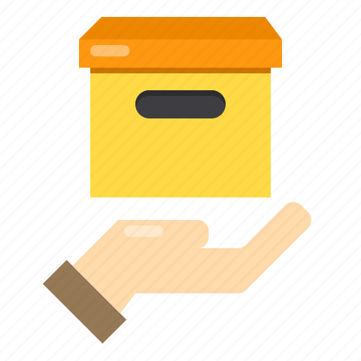 box, delivery, hand, logistics, over, package icon