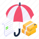 parcel insurance, logistic insurance, insured package, courier insurance, insured shipment icon