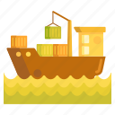 barge, cargo, freight, logistics, shipment, shipping icon