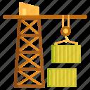 container, container crane, crane, freight, lifting crane, logistics icon