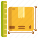 dimension, package, package size, parcel, parcel size icon