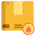 fire, flame, flammable, package, parcel icon