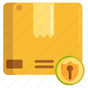 coverage, insurance, package, parcel, protection, security, shield icon