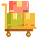 freight, logistics, package, parcel, shipping, trolley icon