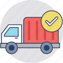 delivery confirmation, delivery success, delivery truck, order confirm, order delivered icon