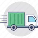 commercial truck, delivery van, fast delivery, shipping lorry, shipping truck icon