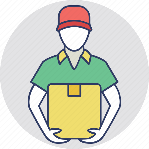 courier boy, courier service, delivery boy, postman, shipping boy icon