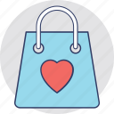 event shopping, gifts shopping, shopping bag heart, valentine day shopping, wedding shopping icon