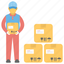 delivery man, delivery man carrying boxes, delivery man delivers packages, delivery man in warehouse, warehouse worker icon