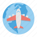 global flight, international flight, international traveling, round the world, world tour icon