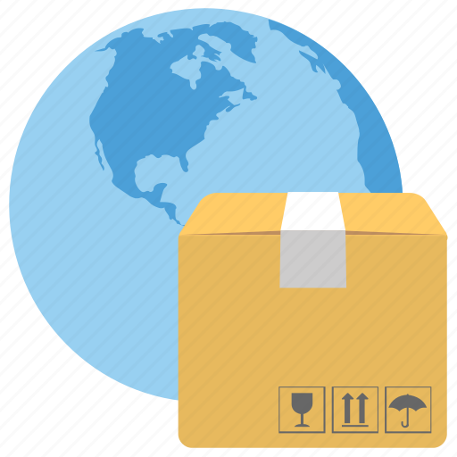 delivery package, global delivery, international shipping icon
