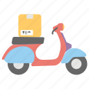 cargo scooter, courier service, delivery bike, delivery scooter, logistics transport icon