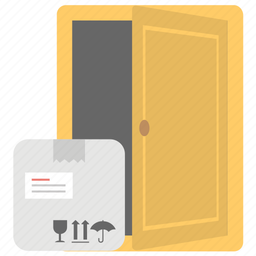 delivered boxes, door delivery, doorstep delivery, home delivery, package delivery icon