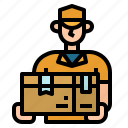 box, delivery, man, package, people icon