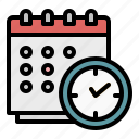 calendar, clock, schedule, time, timetable icon