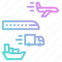 logistics, plane, ship, train, transport