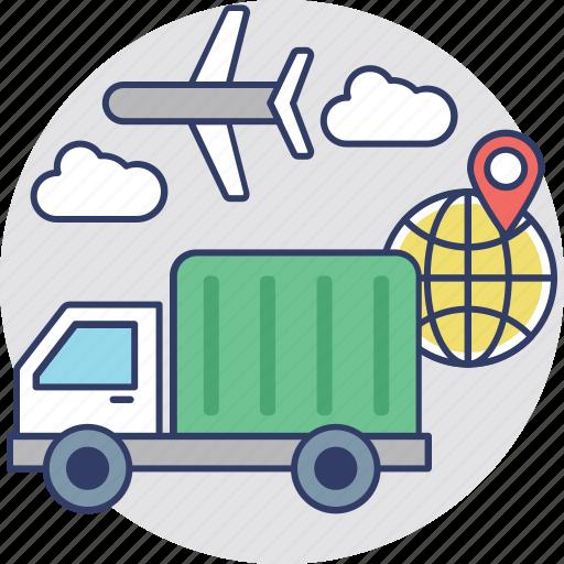 advance logistics, delivery transportation, international courier, logistics delivery, shipment icon