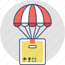air balloon delivery box, delivery concept, flying, hot balloon delivery, logistic delivery, wooden box balloon icon