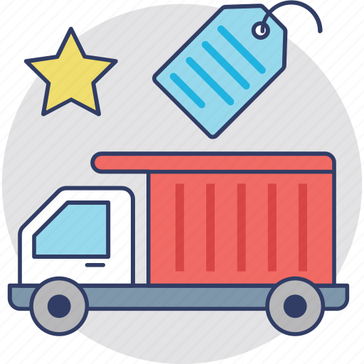 cargo services, cash on delivery, delivery truck with price tag, free delivery, free shipping, gift delivery, truck tag icon