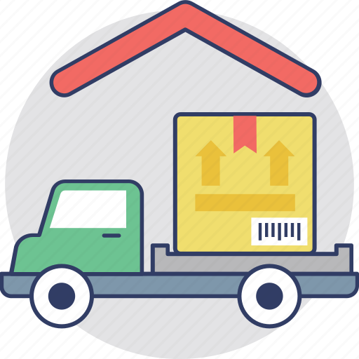 cargo transport, commercial warehouse, delivery truck at warehouse, logistic company, warehouse and delivery icon